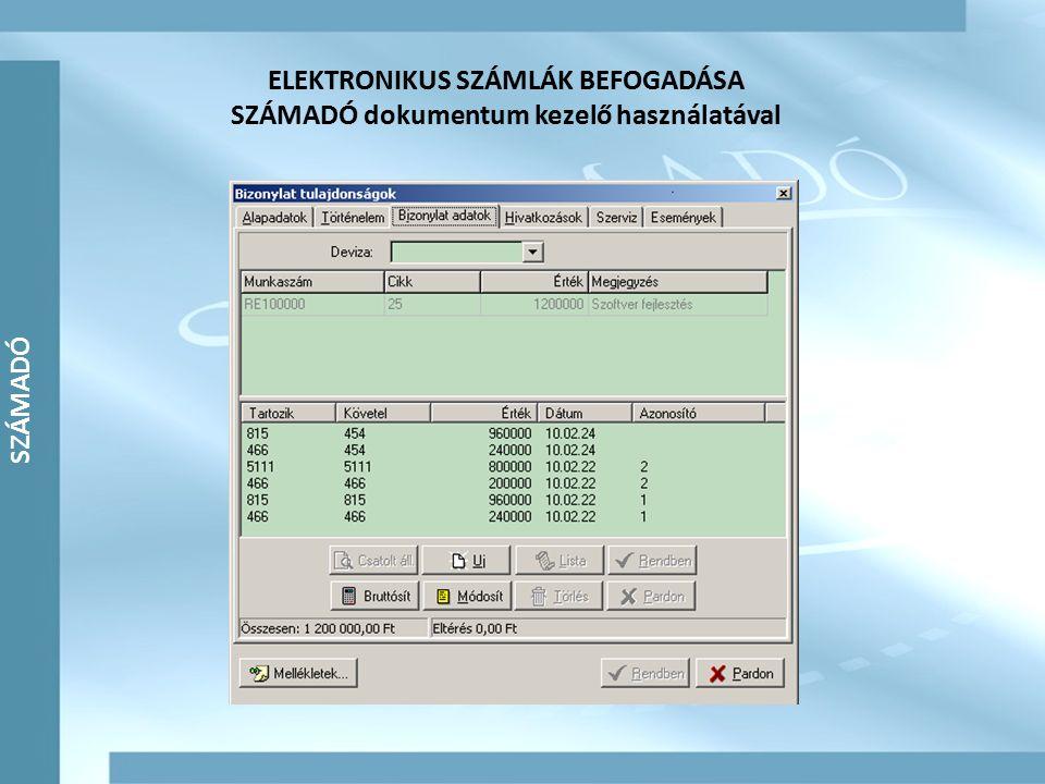 ELEKTRONIKUS SZÁMLÁK BEFOGADÁSA SZÁMADÓ dokumentum kezelő használatával
