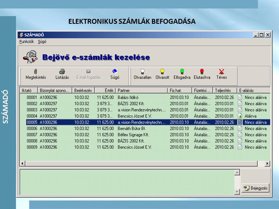 SZÁMADÓ SZÁMLÁK (elektronikus és papír alapú) ELEKTRONIKUS SZÁMLÁK BEFOGADÁSA