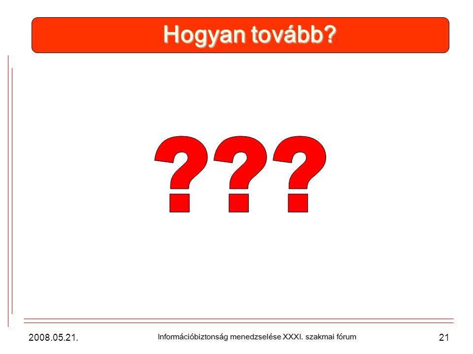 2008.05.21. Információbiztonság menedzselése XXXI. szakmai fórum 21 Hogyan tovább