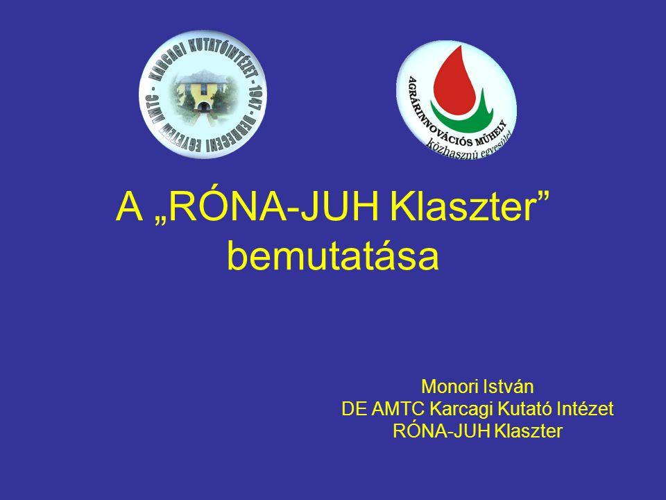 """A """"RÓNA-JUH Klaszter"""" bemutatása Monori István DE AMTC Karcagi Kutató Intézet RÓNA-JUH Klaszter"""