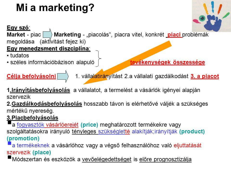 A marketingmix klasszikus modellje 4P - eladói kategóriák: termék (product) ár (price)→tender ár csatorna (place) befolyásolás (promotion) 4C - vevői kategóriák: (→megfelelni akarás ezeknek) Vevő-használati- érték (customer value)(szükséglet) költség (cost)*→Kbt.