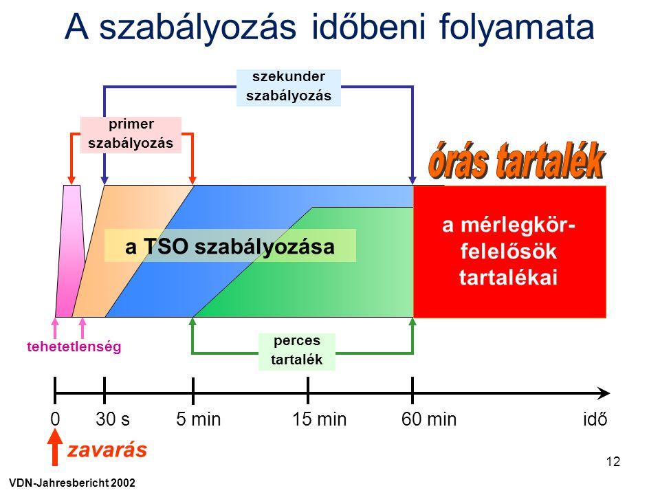 0 30 s 5 min 15 min 60 min idő zavarás szekunder szabályozás primer szabályozás perces tartalék tehetetlenség a mérlegkör- felelősök tartalékai a TSO szabályozása VDN-Jahresbericht 2002 A szabályozás időbeni folyamata 12