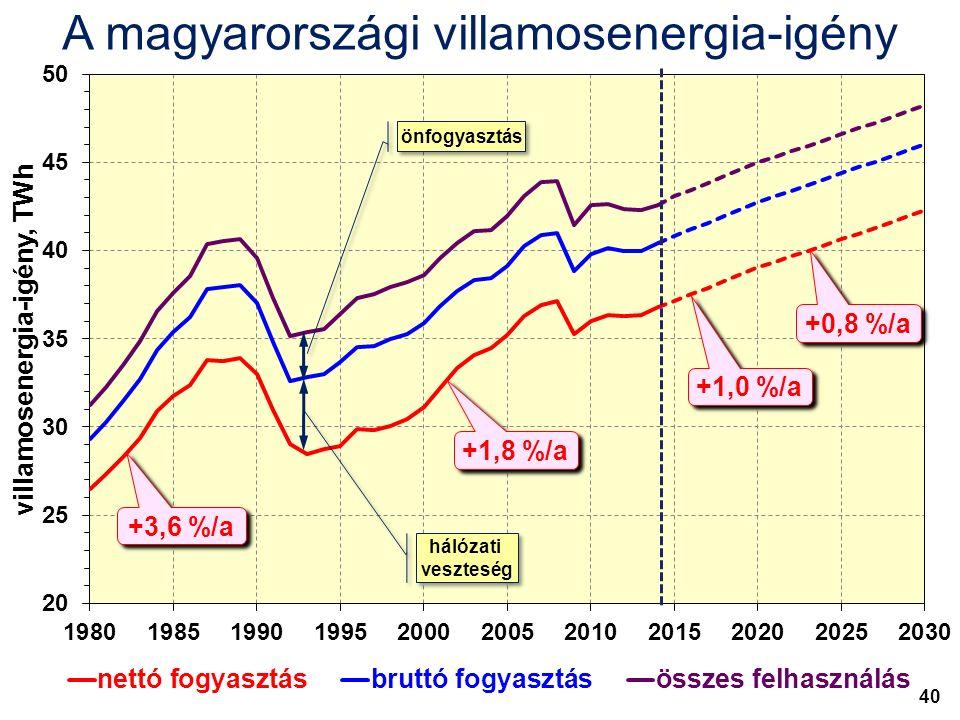 A magyarországi villamosenergia-igény önfogyasztás hálózati veszteség hálózati veszteség +3,6 %/a +1,8 %/a +1,0 %/a +0,8 %/a 40