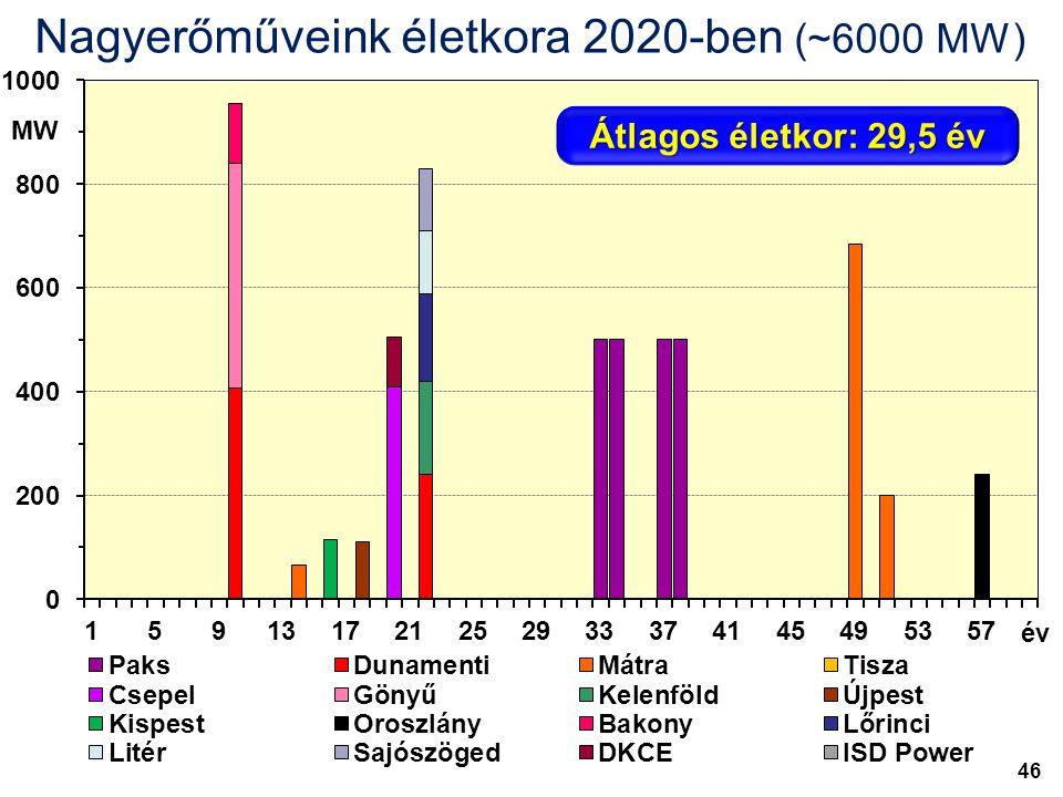 MW év Nagyerőműveink életkora 2020-ben (~6000 MW) Átlagos életkor: 29,5 év 46