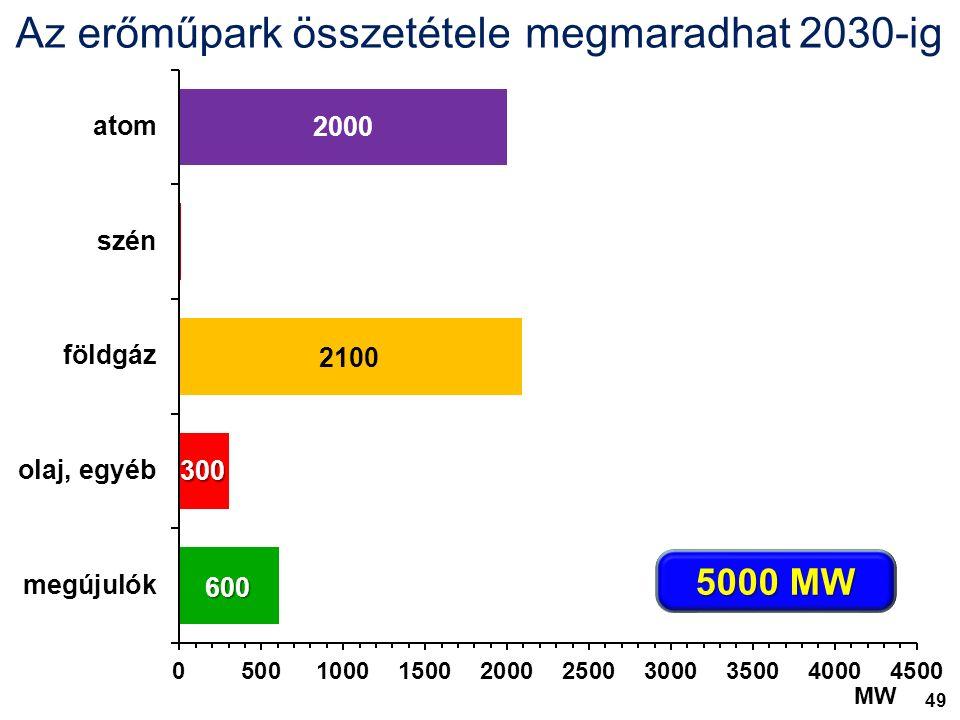 8500 MW Az erőműpark összetétele várhatóan 2015 végén megmaradhat 2030-ig 5000 MW 2100 300 600 MW 49