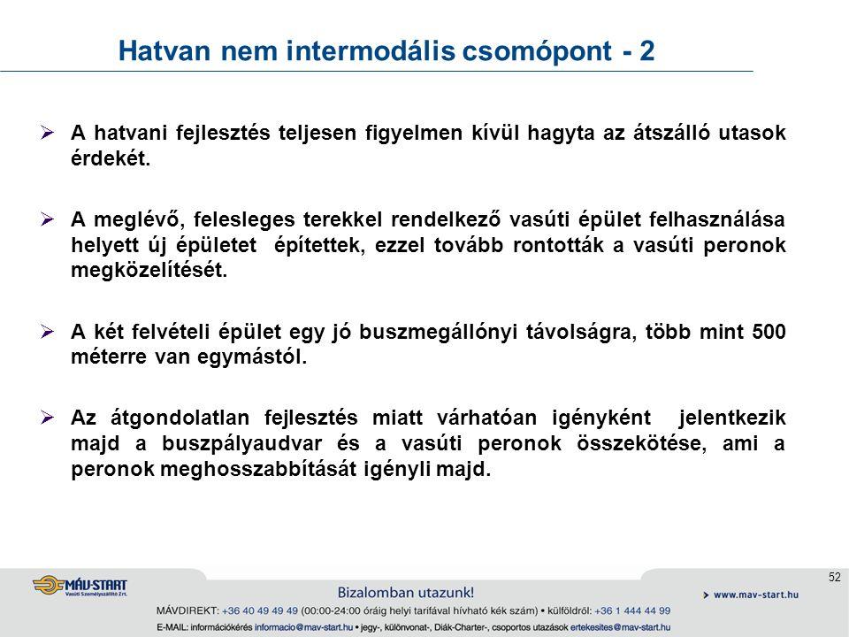 52 Hatvan nem intermodális csomópont - 2  A hatvani fejlesztés teljesen figyelmen kívül hagyta az átszálló utasok érdekét.  A meglévő, felesleges te
