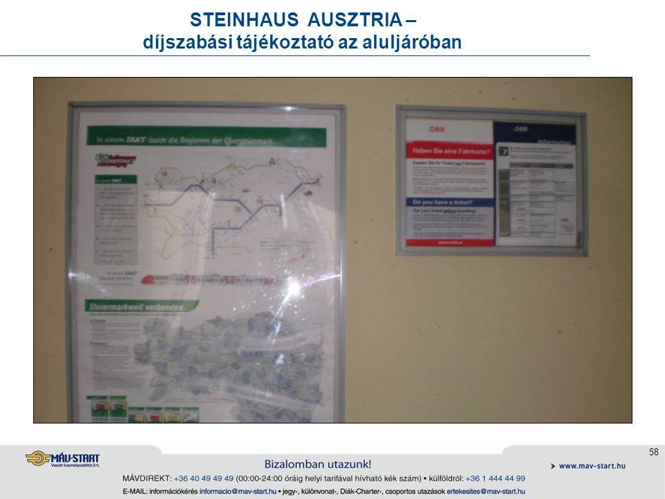 58 STEINHAUS AUSZTRIA – díjszabási tájékoztató az aluljáróban