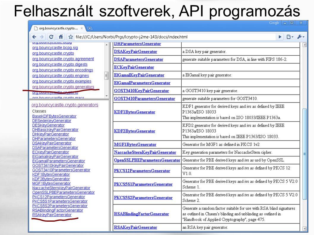 Felhasznált szoftverek, API programozás