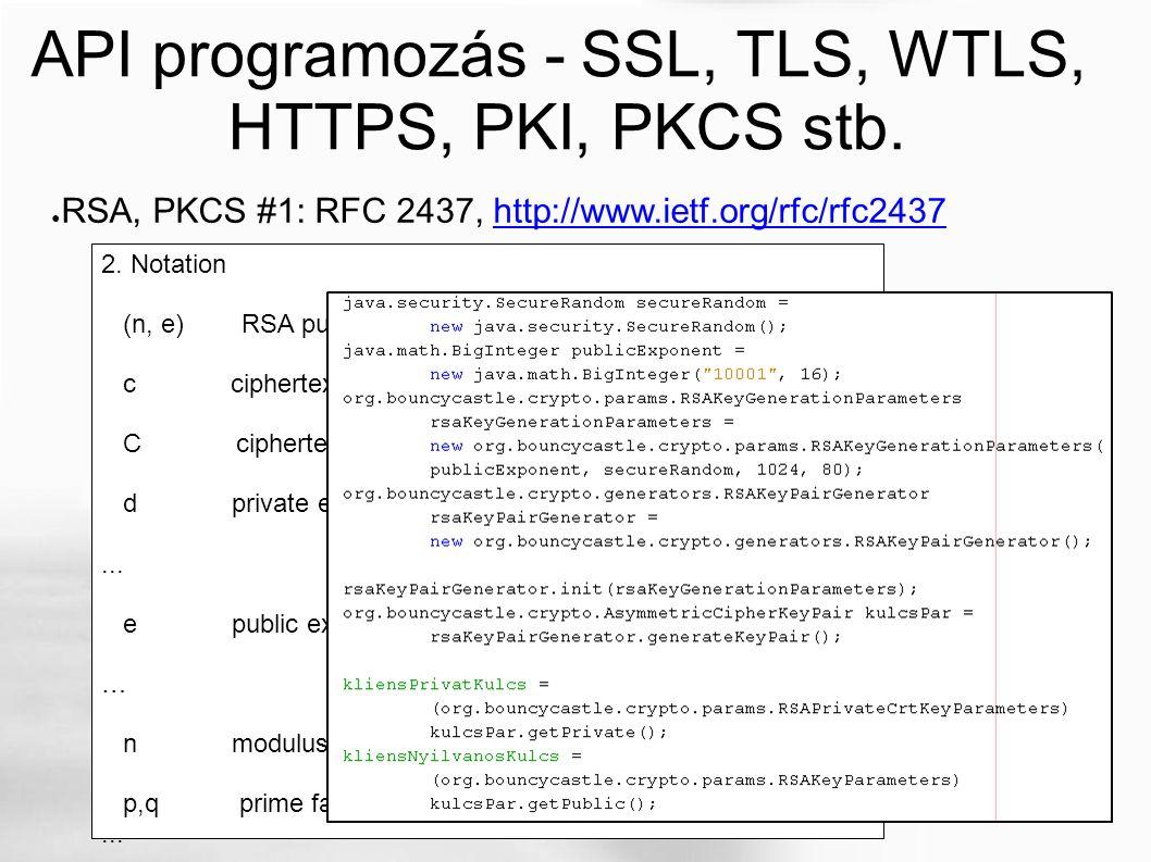 API programozás - SSL, TLS, WTLS, HTTPS, PKI, PKCS stb.