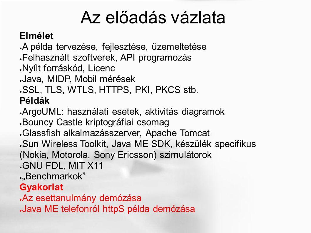 Az előadás vázlata Elmélet ● A példa tervezése, fejlesztése, üzemeltetése ● Felhasznált szoftverek, API programozás ● Nyílt forráskód, Licenc ● Java, MIDP, Mobil mérések ● SSL, TLS, WTLS, HTTPS, PKI, PKCS stb.