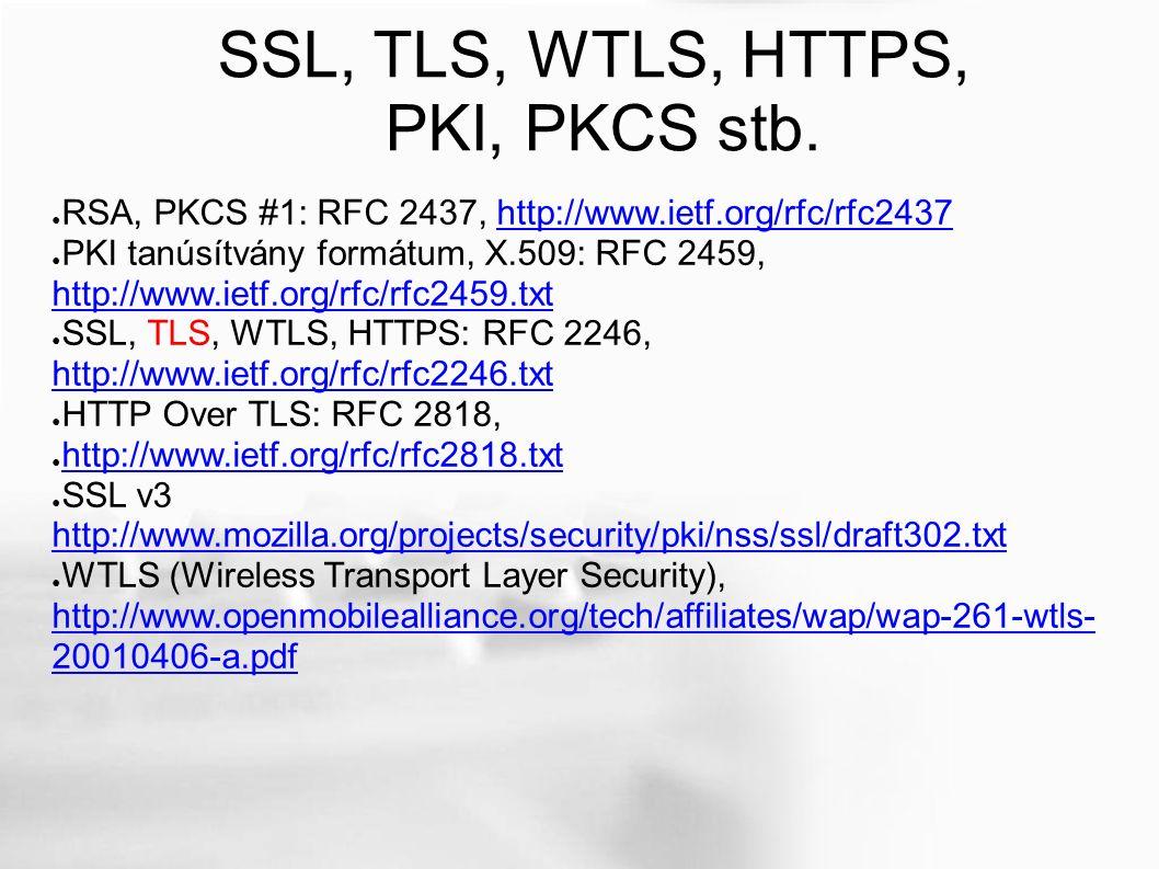 SSL, TLS, WTLS, HTTPS, PKI, PKCS stb.