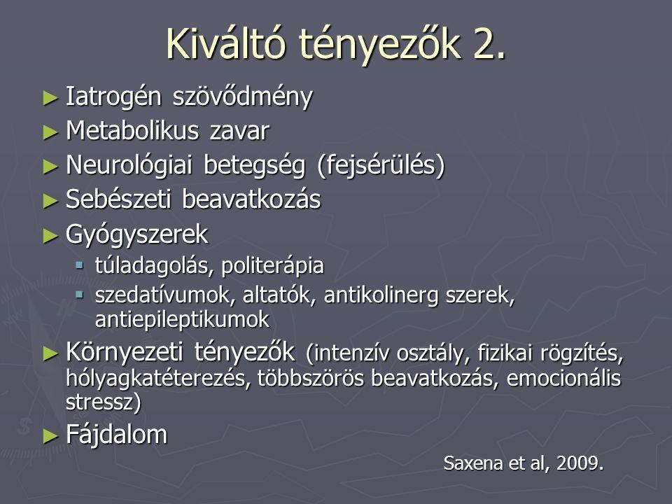 Kiváltó tényezők 2. ► Iatrogén szövődmény ► Metabolikus zavar ► Neurológiai betegség (fejsérülés) ► Sebészeti beavatkozás ► Gyógyszerek  túladagolás,