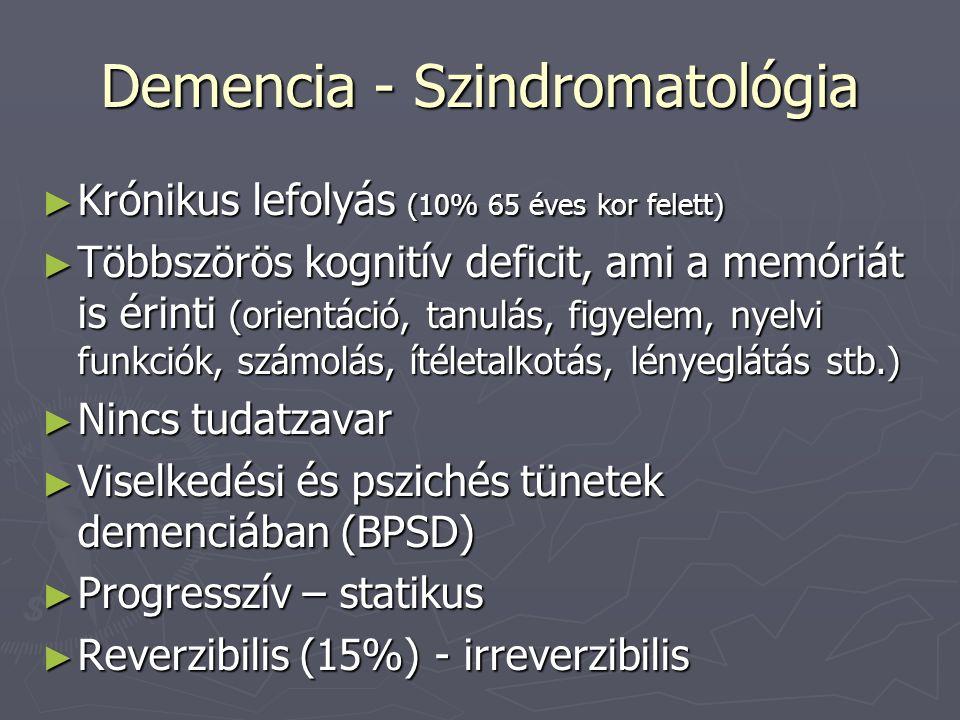 Demencia - Szindromatológia ► Krónikus lefolyás (10% 65 éves kor felett) ► Többszörös kognitív deficit, ami a memóriát is érinti (orientáció, tanulás, figyelem, nyelvi funkciók, számolás, ítéletalkotás, lényeglátás stb.) ► Nincs tudatzavar ► Viselkedési és pszichés tünetek demenciában (BPSD) ► Progresszív – statikus ► Reverzibilis (15%) - irreverzibilis