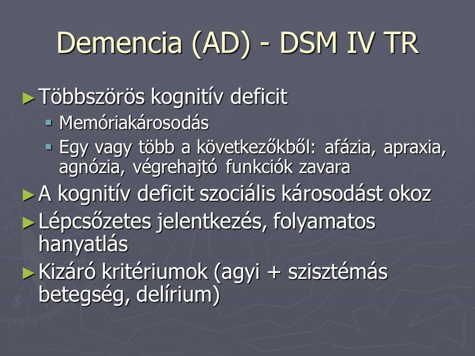 Demencia (AD) - DSM IV TR ► Többszörös kognitív deficit  Memóriakárosodás  Egy vagy több a következőkből: afázia, apraxia, agnózia, végrehajtó funkciók zavara ► A kognitív deficit szociális károsodást okoz ► Lépcsőzetes jelentkezés, folyamatos hanyatlás ► Kizáró kritériumok (agyi + szisztémás betegség, delírium)