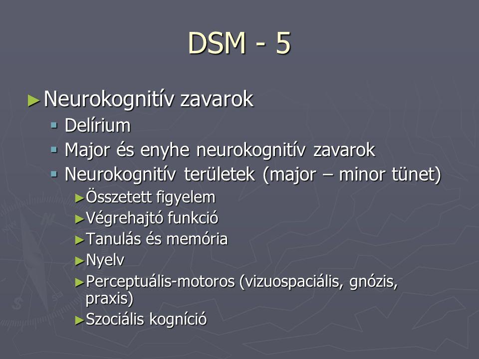 DSM - 5 ► Neurokognitív zavarok  Delírium  Major és enyhe neurokognitív zavarok  Neurokognitív területek (major – minor tünet) ► Összetett figyelem ► Végrehajtó funkció ► Tanulás és memória ► Nyelv ► Perceptuális-motoros (vizuospaciális, gnózis, praxis) ► Szociális kogníció