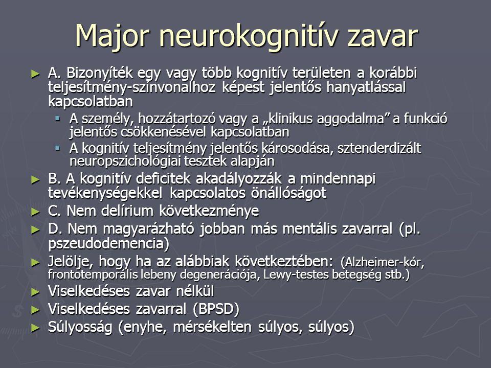 Major neurokognitív zavar ► A. Bizonyíték egy vagy több kognitív területen a korábbi teljesítmény-színvonalhoz képest jelentős hanyatlással kapcsolatb