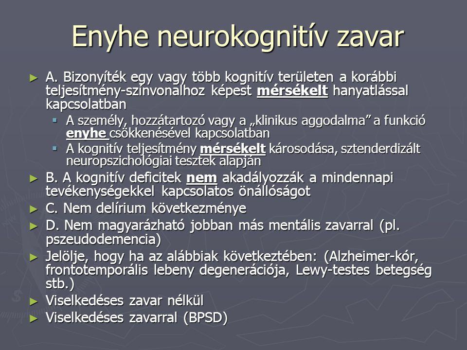 Enyhe neurokognitív zavar ► A. Bizonyíték egy vagy több kognitív területen a korábbi teljesítmény-színvonalhoz képest mérsékelt hanyatlással kapcsolat