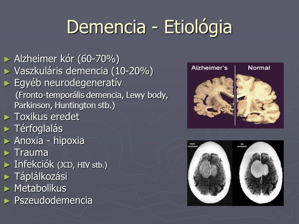 Demencia - Etiológia ► Alzheimer kór (60-70%) ► Vaszkuláris demencia (10-20%) ► Egyéb neurodegeneratív (Fronto-temporális demencia, Lewy body, (Fronto-temporális demencia, Lewy body, Parkinson, Huntington stb.) ► Toxikus eredet ► Térfoglalás ► Anoxia - hipoxia ► Trauma ► Infekciók (JCD, HIV stb.) ► Táplálkozási ► Metabolikus ► Pszeudodemencia
