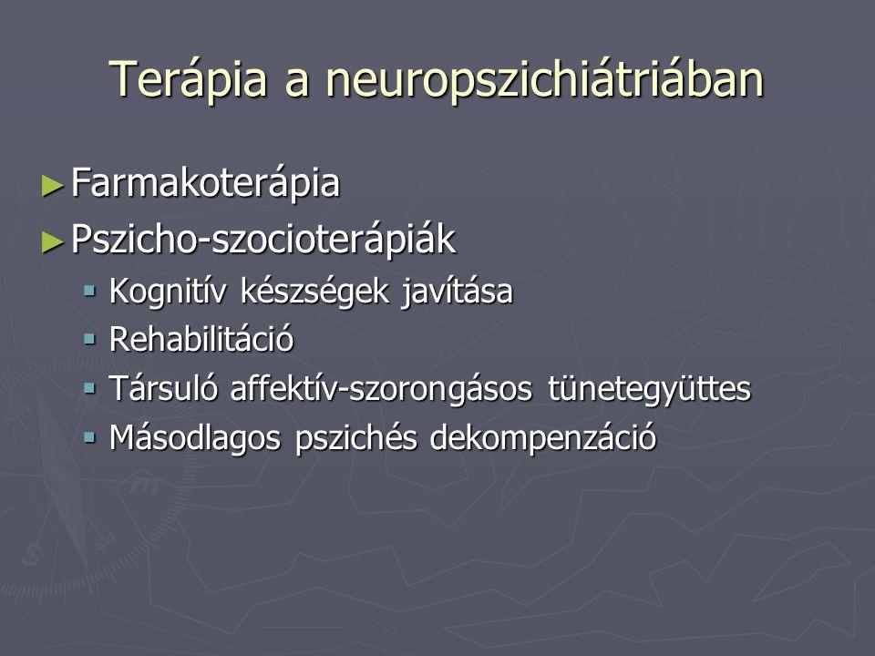 Terápia a neuropszichiátriában ► Farmakoterápia ► Pszicho-szocioterápiák  Kognitív készségek javítása  Rehabilitáció  Társuló affektív-szorongásos tünetegyüttes  Másodlagos pszichés dekompenzáció