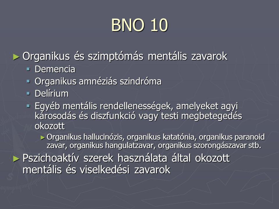 BNO 10 ► Organikus és szimptómás mentális zavarok  Demencia  Organikus amnéziás szindróma  Delírium  Egyéb mentális rendellenességek, amelyeket agyi károsodás és diszfunkció vagy testi megbetegedés okozott ► Organikus hallucinózis, organikus katatónia, organikus paranoid zavar, organikus hangulatzavar, organikus szorongászavar stb.