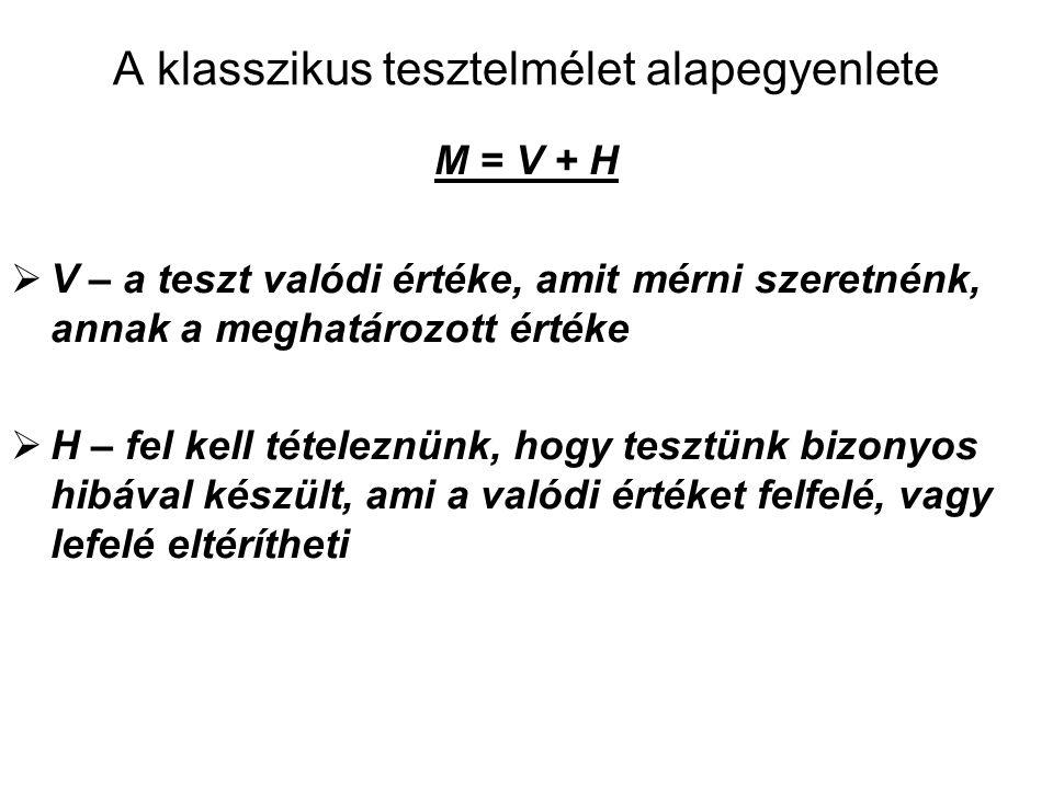 A klasszikus tesztelmélet alapegyenlete M = V + H  V – a teszt valódi értéke, amit mérni szeretnénk, annak a meghatározott értéke  H – fel kell tételeznünk, hogy tesztünk bizonyos hibával készült, ami a valódi értéket felfelé, vagy lefelé eltérítheti