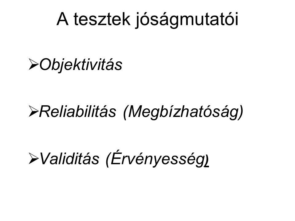 A tesztek jóságmutatói  Objektivitás  Reliabilitás (Megbízhatóság)  Validitás (Érvényesség )