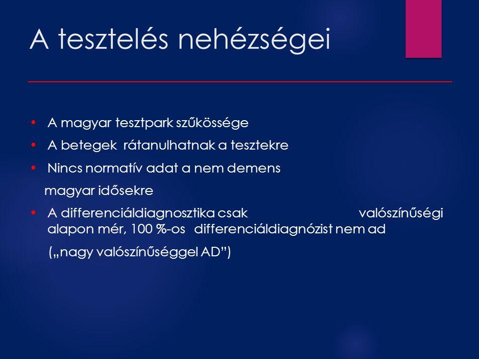 """A tesztelés nehézségei A magyar tesztpark szűkössége A betegek rátanulhatnak a tesztekre Nincs normatív adat a nem demens magyar idősekre A differenciáldiagnosztika csak valószínűségi alapon mér, 100 %-os differenciáldiagnózist nem ad (""""nagy valószínűséggel AD )"""