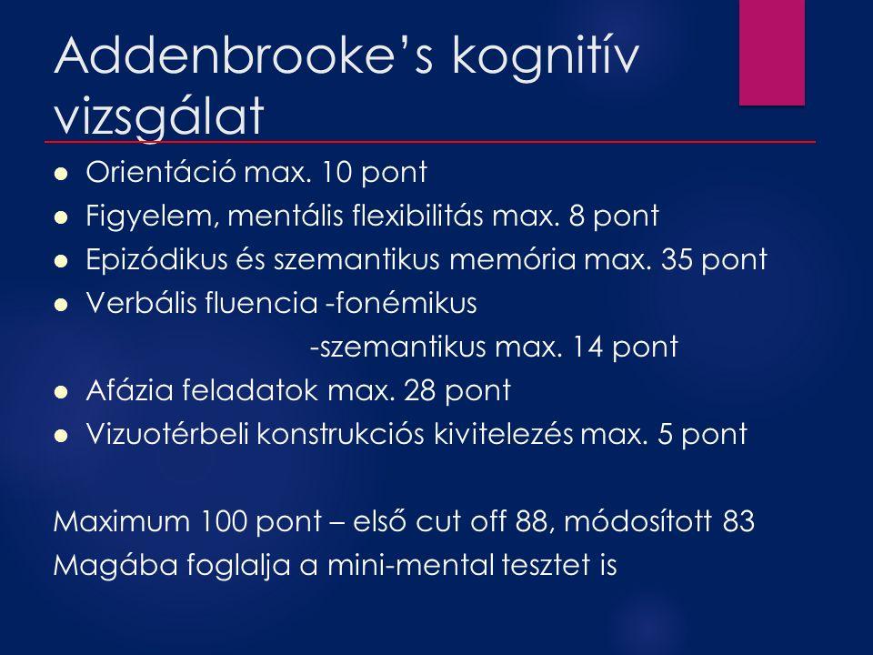 Addenbrooke's kognitív vizsgálat Orientáció max. 10 pont Figyelem, mentális flexibilitás max. 8 pont Epizódikus és szemantikus memória max. 35 pont Ve