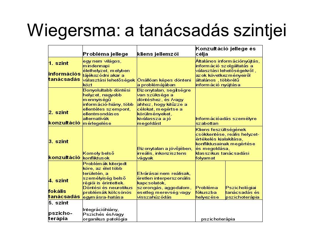 Wiegersma: a tanácsadás szintjei