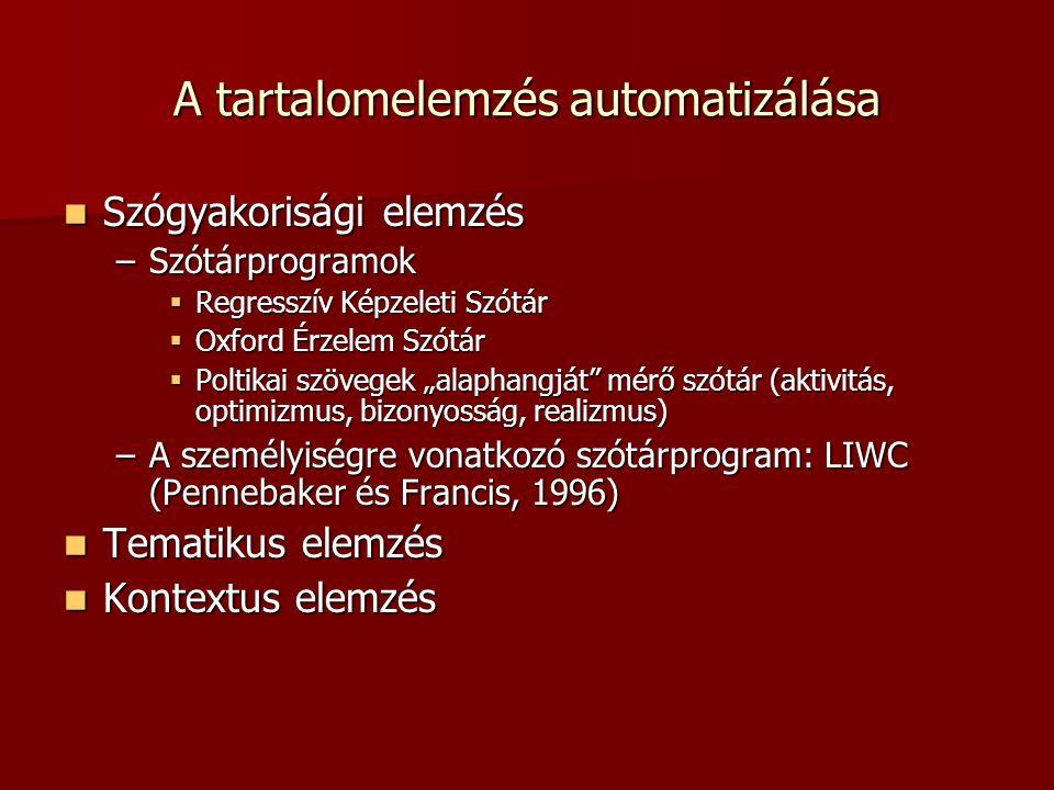 """A tartalomelemzés automatizálása Szógyakorisági elemzés Szógyakorisági elemzés –Szótárprogramok  Regresszív Képzeleti Szótár  Oxford Érzelem Szótár  Poltikai szövegek """"alaphangját mérő szótár (aktivitás, optimizmus, bizonyosság, realizmus) –A személyiségre vonatkozó szótárprogram: LIWC (Pennebaker és Francis, 1996) Tematikus elemzés Tematikus elemzés Kontextus elemzés Kontextus elemzés"""