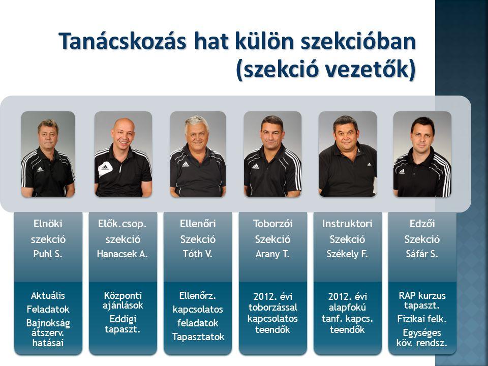 Tanácskozás hat külön szekcióban (szekció vezetők)