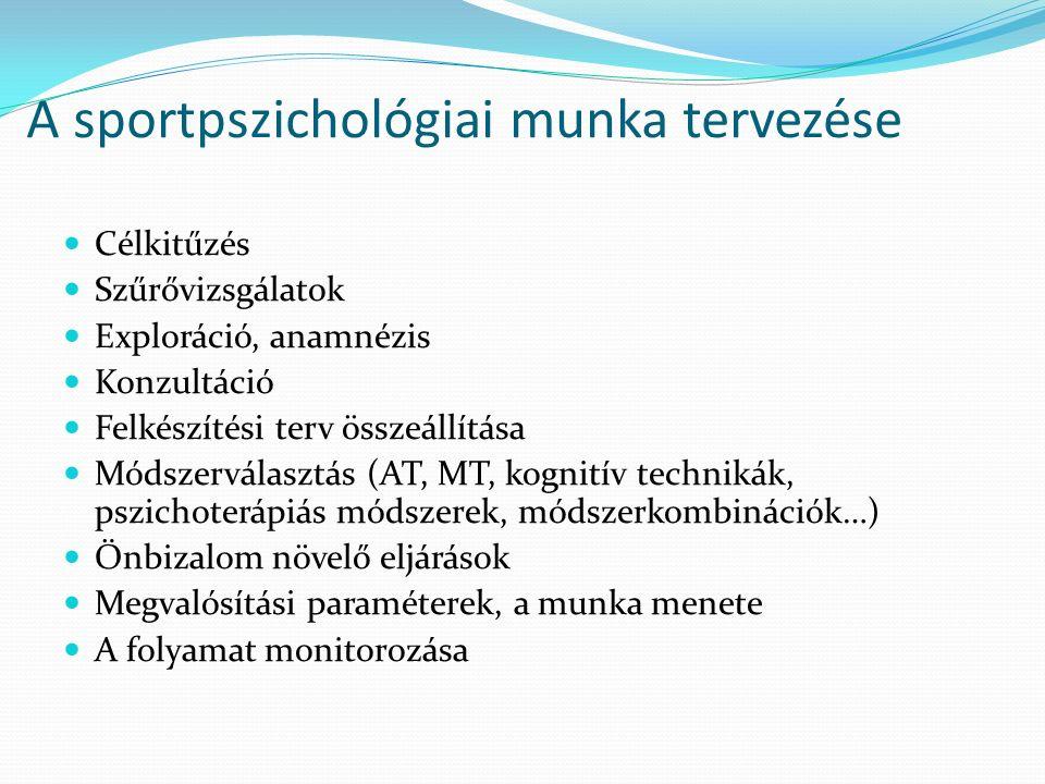 A sportpszichológiai munka tervezése Célkitűzés Szűrővizsgálatok Exploráció, anamnézis Konzultáció Felkészítési terv összeállítása Módszerválasztás (AT, MT, kognitív technikák, pszichoterápiás módszerek, módszerkombinációk…) Önbizalom növelő eljárások Megvalósítási paraméterek, a munka menete A folyamat monitorozása