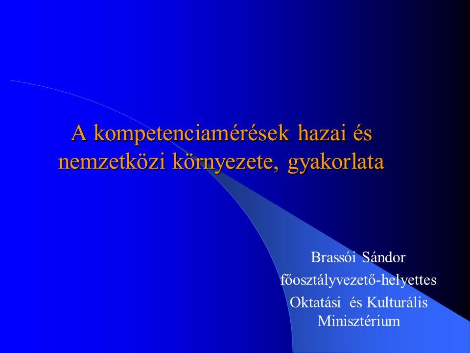 A kompetenciamérések hazai és nemzetközi környezete, gyakorlata Brassói Sándor főosztályvezető-helyettes Oktatási és Kulturális Minisztérium