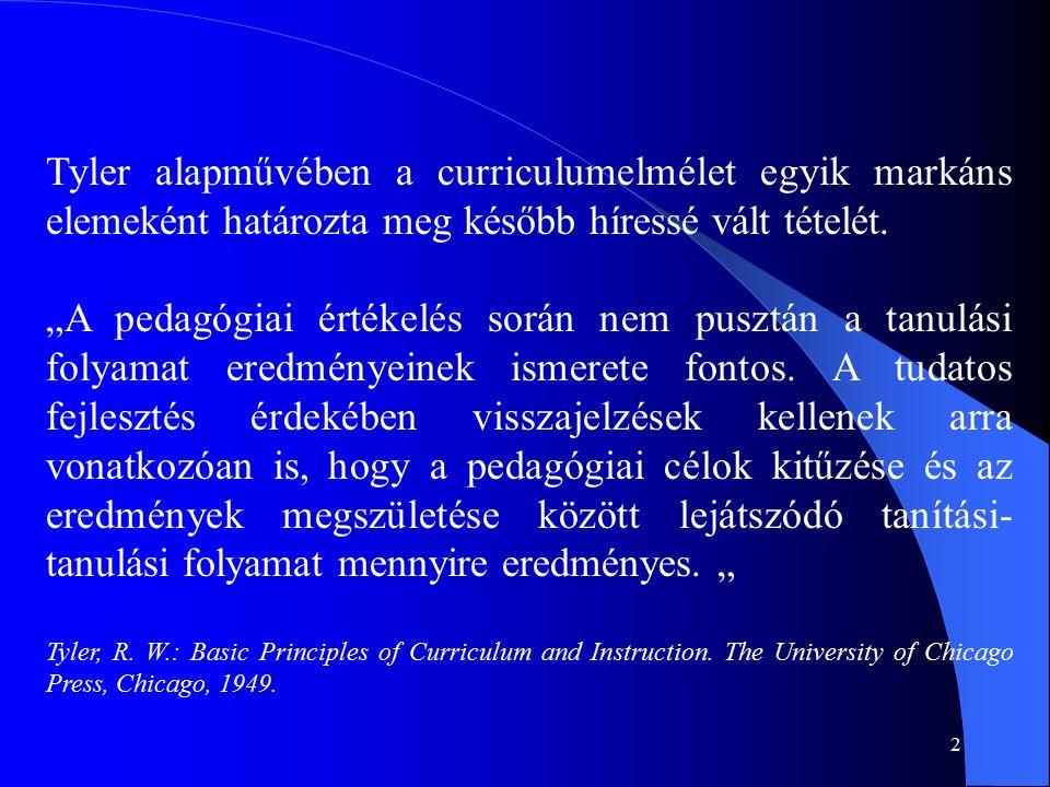 2 Tyler alapművében a curriculumelmélet egyik markáns elemeként határozta meg később híressé vált tételét.