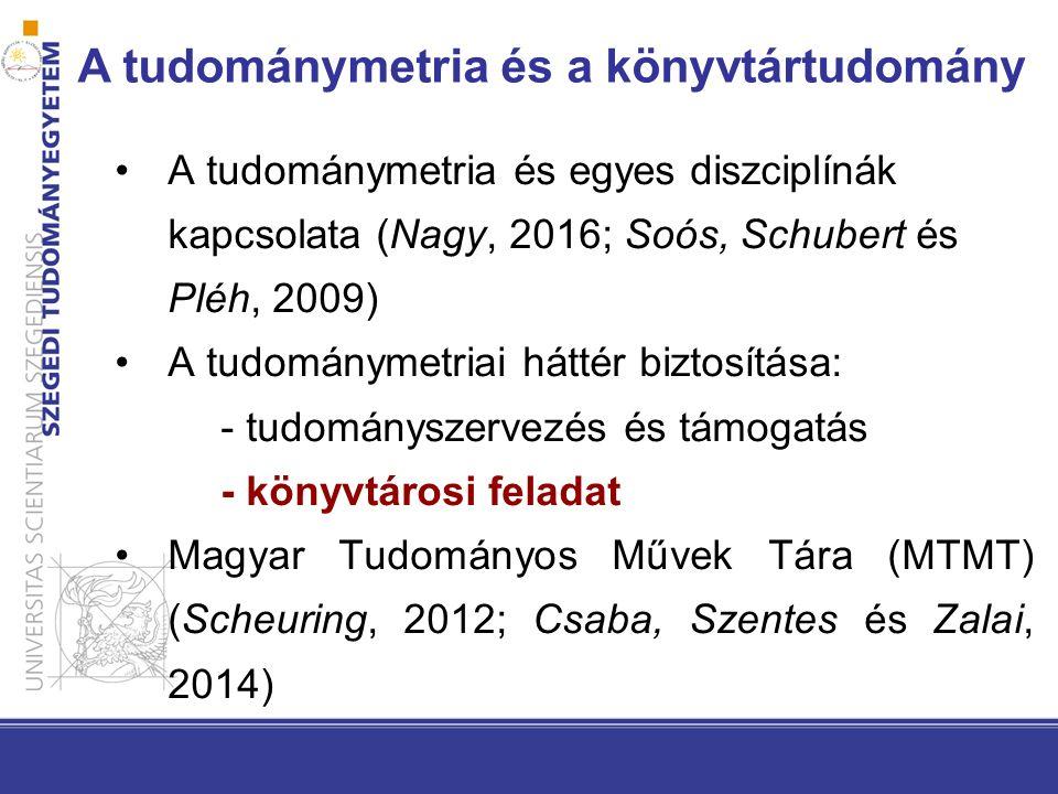 A tudománymetria és egyes diszciplínák kapcsolata (Nagy, 2016; Soós, Schubert és Pléh, 2009) A tudománymetriai háttér biztosítása: - tudományszervezés és támogatás - könyvtárosi feladat Magyar Tudományos Művek Tára (MTMT) (Scheuring, 2012; Csaba, Szentes és Zalai, 2014) A tudománymetria és a könyvtártudomány
