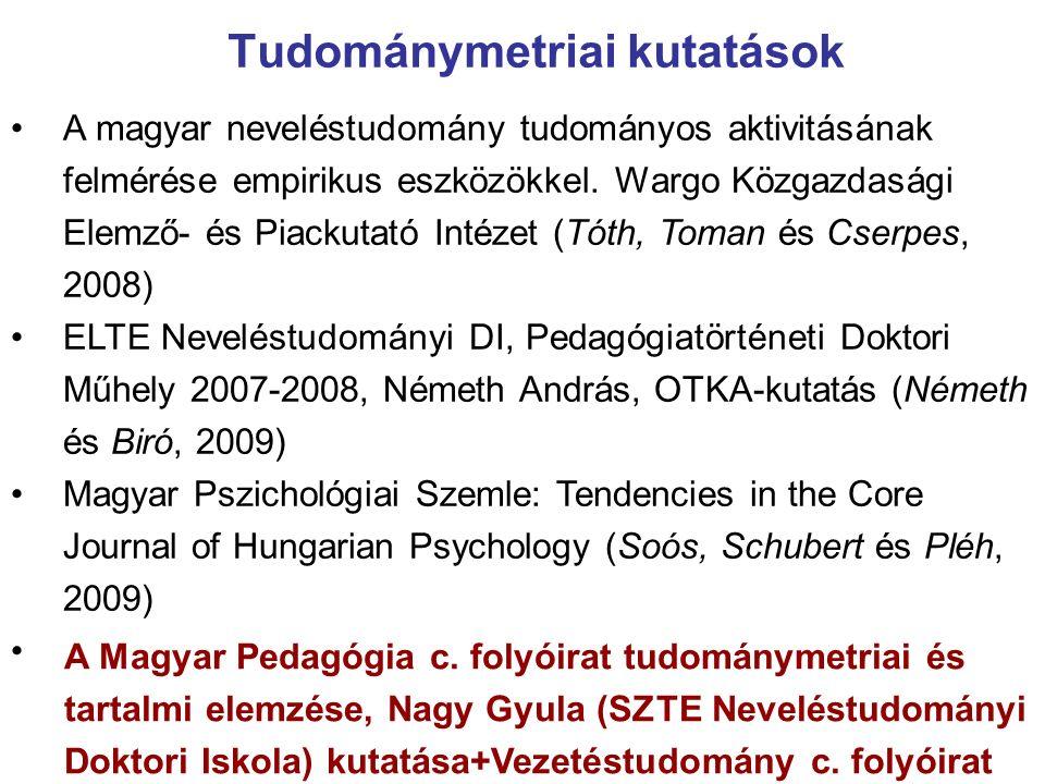 Tudománymetriai kutatások A magyar neveléstudomány tudományos aktivitásának felmérése empirikus eszközökkel.