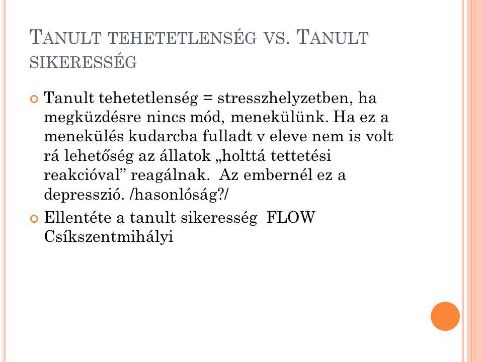 T ANULT TEHETETLENSÉG VS.