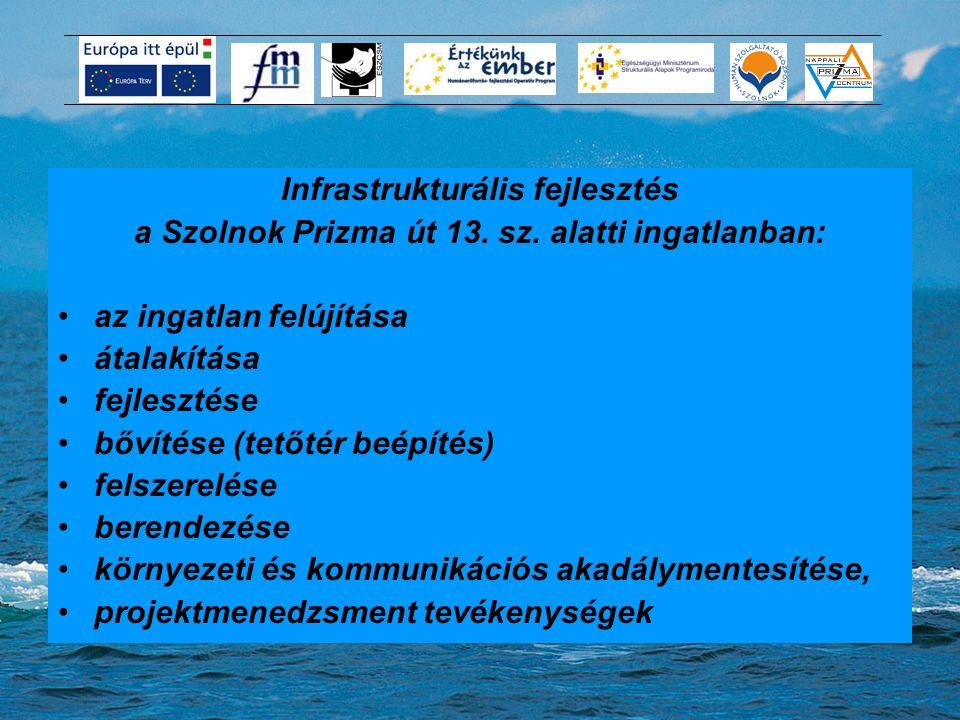 A projekt tartalma Infrastrukturális fejlesztés a Szolnok Prizma út 13. sz. alatti ingatlanban: az ingatlan felújítása átalakítása fejlesztése bővítés