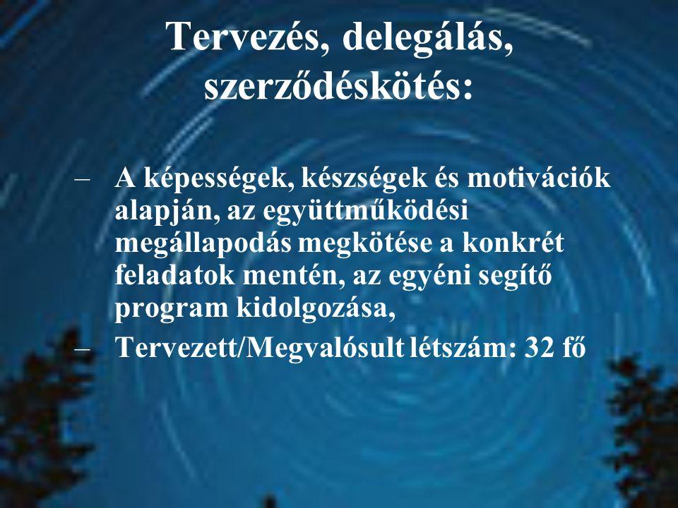 Tervezés, delegálás, szerződéskötés: –A képességek, készségek és motivációk alapján, az együttműködési megállapodás megkötése a konkrét feladatok mentén, az egyéni segítő program kidolgozása, –Tervezett/Megvalósult létszám: 32 fő