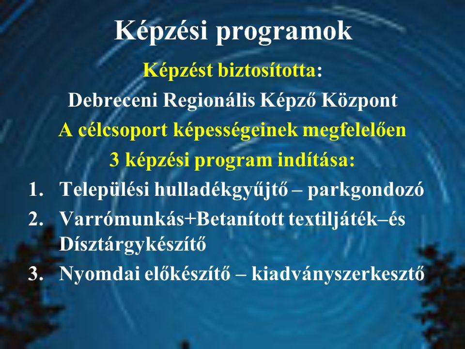 Képzési programok Képzést biztosította: Debreceni Regionális Képző Központ A célcsoport képességeinek megfelelően 3 képzési program indítása: 1.Telepü