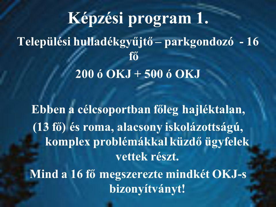 Képzési program 1. Települési hulladékgyűjtő – parkgondozó - 16 fő 200 ó OKJ + 500 ó OKJ Ebben a célcsoportban főleg hajléktalan, (13 fő) és roma, ala