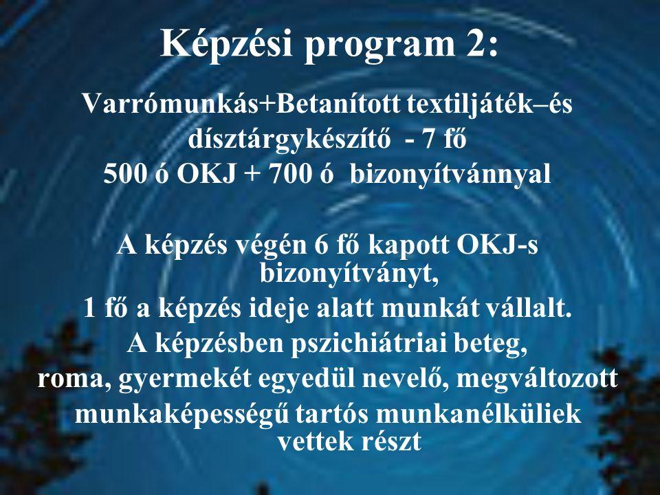 Képzési program 2: Varrómunkás+Betanított textiljáték–és dísztárgykészítő - 7 fő 500 ó OKJ + 700 ó bizonyítvánnyal A képzés végén 6 fő kapott OKJ-s bizonyítványt, 1 fő a képzés ideje alatt munkát vállalt.