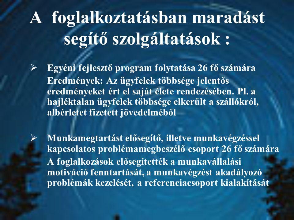 A foglalkoztatásban maradást segítő szolgáltatások :  Egyéni fejlesztő program folytatása 26 fő számára Eredmények: Az ügyfelek többsége jelentős ere