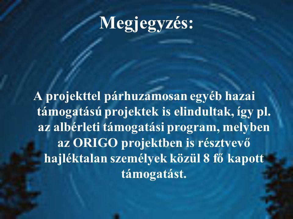 Megjegyzés: A projekttel párhuzamosan egyéb hazai támogatású projektek is elindultak, így pl. az albérleti támogatási program, melyben az ORIGO projek