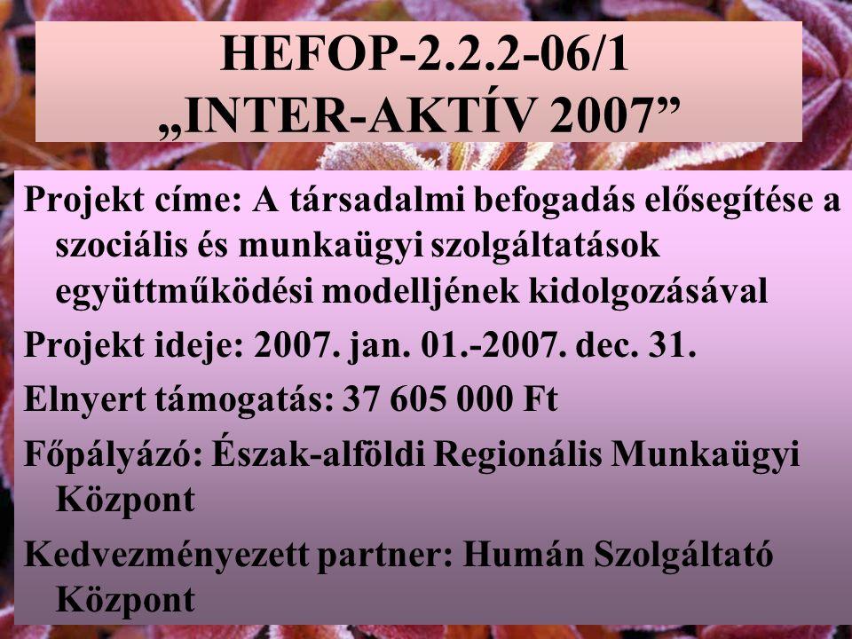 """HEFOP-2.2.2-06/1 """"INTER-AKTÍV 2007 Projekt címe: A társadalmi befogadás elősegítése a szociális és munkaügyi szolgáltatások együttműködési modelljének kidolgozásával Projekt ideje: 2007."""