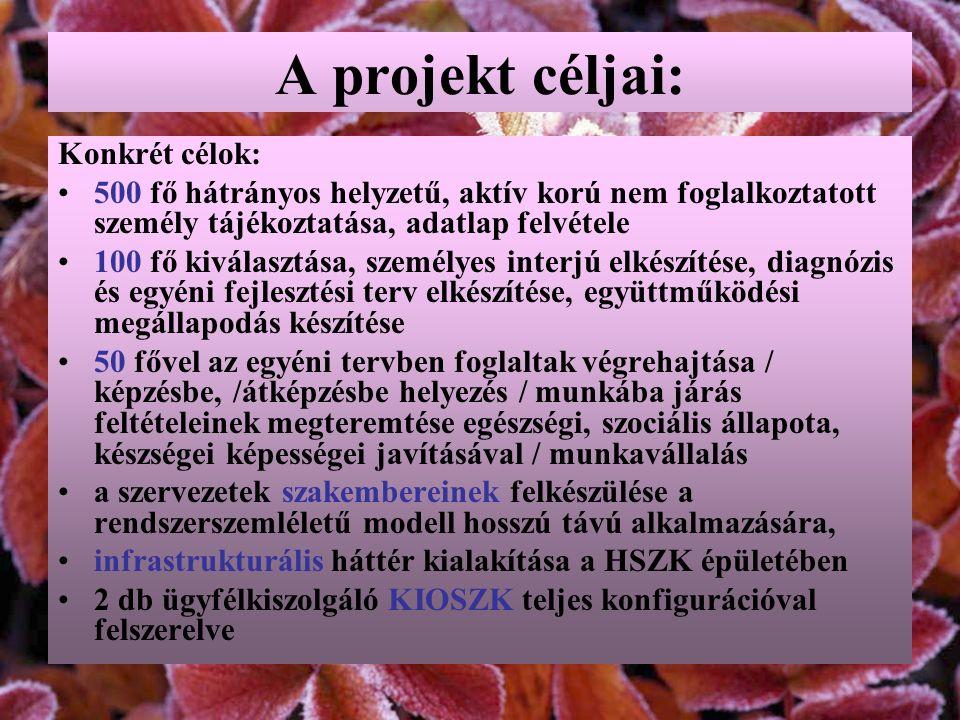 A projekt céljai: Konkrét célok: 500 fő hátrányos helyzetű, aktív korú nem foglalkoztatott személy tájékoztatása, adatlap felvétele 100 fő kiválasztás