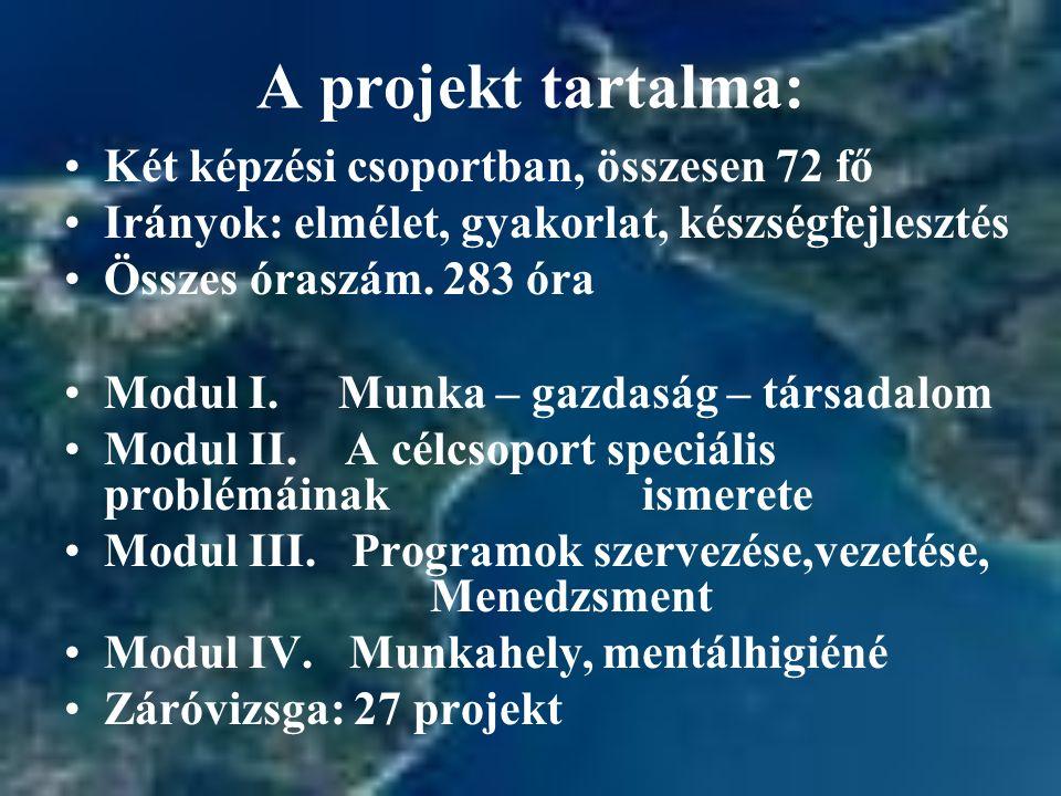 A projekt tartalma: Két képzési csoportban, összesen 72 fő Irányok: elmélet, gyakorlat, készségfejlesztés Összes óraszám.