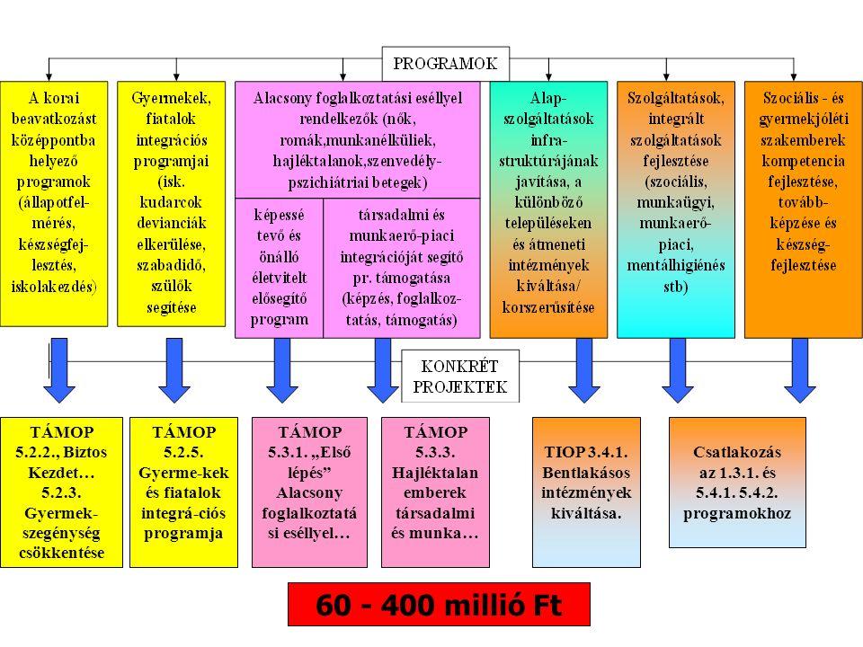 60 - 400 millió Ft TÁMOP 5.2.2., Biztos Kezdet… 5.2.3. Gyermek- szegénység csökkentése TÁMOP 5.2.5. Gyerme-kek és fiatalok integrá-ciós programja TÁMO