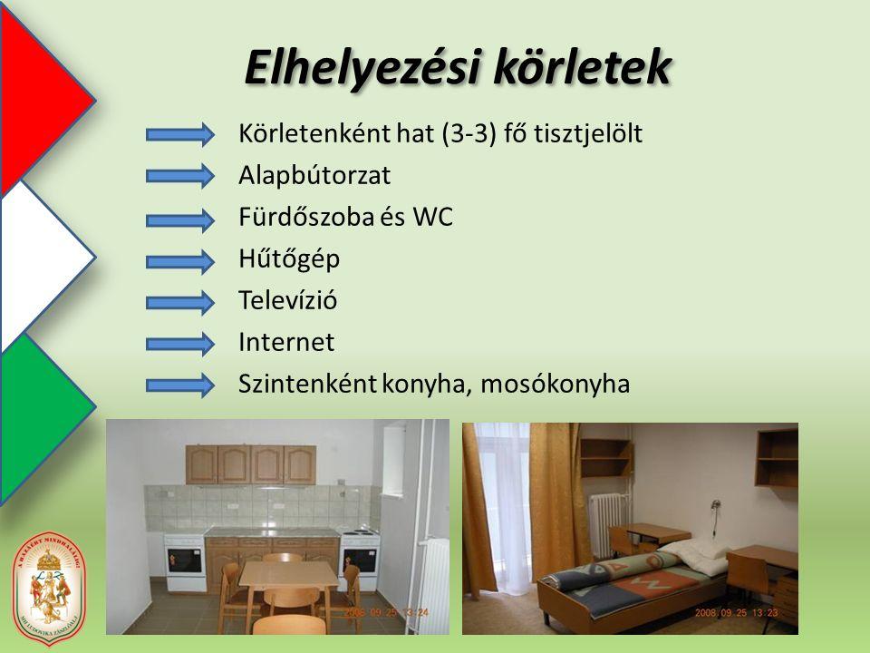 Elhelyezési körletek Körletenként hat (3-3) fő tisztjelölt Alapbútorzat Fürdőszoba és WC Hűtőgép Televízió Internet Szintenként konyha, mosókonyha
