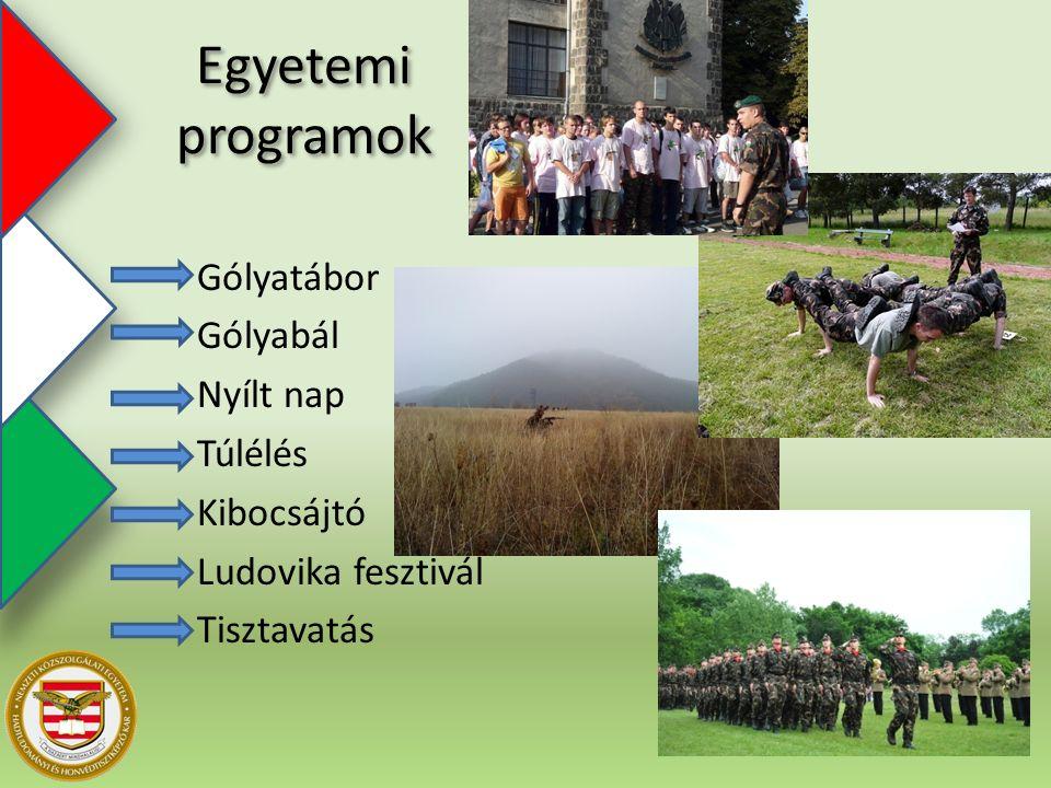 Egyetemi programok Gólyatábor Gólyabál Nyílt nap Túlélés Kibocsájtó Ludovika fesztivál Tisztavatás